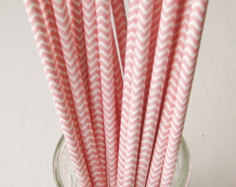 25 Paper Light Pink and White Chevron Pattern Straws - Free Printable Straw Flags