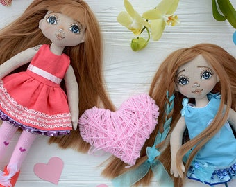 Cute spring handmade sister dolls with pink heart