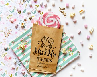 Mrs and Mrs - Lesbian wedding favors - hers and hers favors - lesbian wedding treat bags - LGBT wedding - bride and bride wedding candy