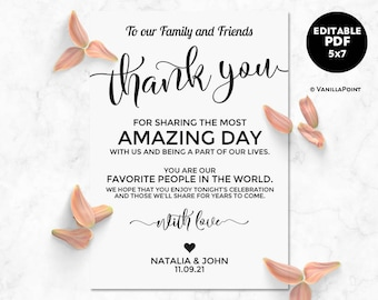Thank You Cards Wedding Printable Table Decor Place Settings Card Template Editable PDF
