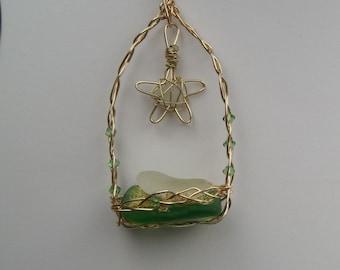 wire wrapped sea glass creche nativity Christmas ornament (402)