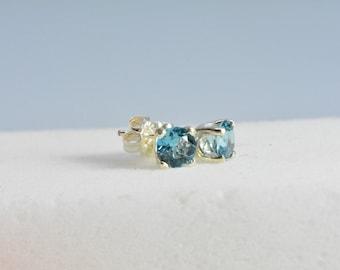 Blue Zircon earrings - AAA,Sterling silver,6mm,stud earrings,silver,Zircon earrings,zircon,valentine,December birthstone,Mothers day gift