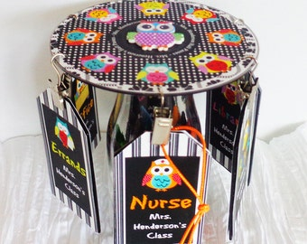 Teacher Gift Personalized Desktop Hall Pass Carousel Owls in a Row