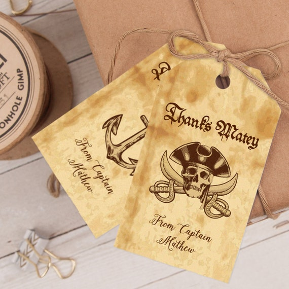 Pirate Skull Party Favor Tag, Pirate Thank You Gift Tag, Pirate Birthday Party Favor template INSTANT DOWNLOAD editable & printable at home