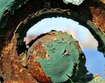 Iron Work Bridge Detail, Green, Rust, Orange, Blue, Circle, Weathered, photograph