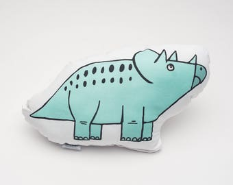 Throw Pillow Mint Dino Triceratops. Ready to Ship. Baby Shower Gift. Nursery Pillow. Bolster Pillow. Dinosaur Pillow. Baby Bedding.