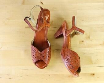 Wooden Heels 6 • Peep Toe Heels • Brown Leather Heels • Wood Heels Made in Brazil • Boho Heels • Heeled Sandals • Low Heels  |