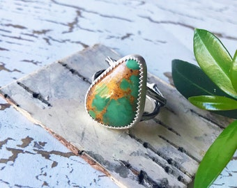 Royston Turquoise Ring - Cast Twig Collection - Sterling Silver - US size 7