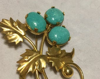 Sorrento vintage gold filled brooch with turquoise colored stones