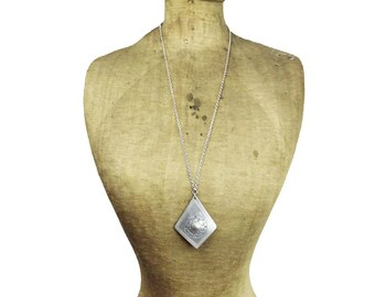 Modernist Silver Pendant Necklace, Large Silver Pendant Necklace, Long Silver Necklace
