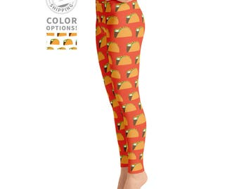 Orange Taco Leggings | Workout Leggings | Food Leggings | Funny Leggings | Funky Leggings | Yogi Gift | Yogawear | Yogagear | Loopy Jayne
