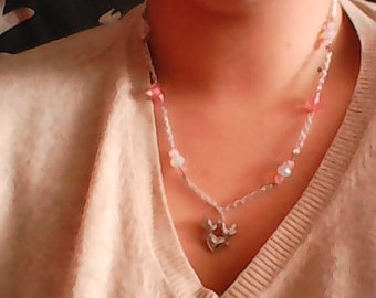 Pink Dove necklace on heart