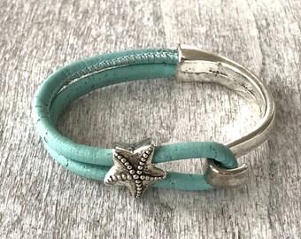 Cork Bracelet//Womans Cork Bracelet//Silver Half Cuff Bracelet//Vegan Bracelet//Portuguese Cork//Red Bracelet//Womans Bracelet//Gift for Her