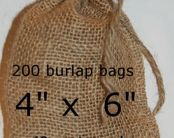 Burlap Bags Wedding Burlap Favor Bags  Rustic Wedding  200 Burlap Bags 4x6