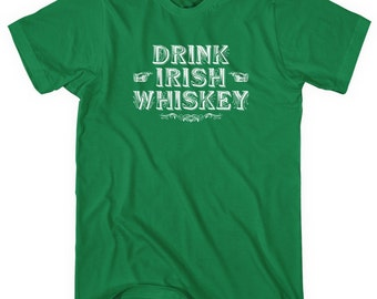 Drink Irish Whiskey T-shirt - Men and Unisex - XS S M L XL 2x 3x 4x - Vintage Shirt, Ireland, Whisky, Drinking - 4 Colors