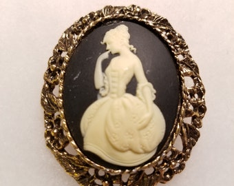 Cameo Brooch Vintage, New Old Stock, Victorian Cameo Brooch, Cameo Brooch Pin, Vintage Cameo, Steampunk Brooch, Cameo Brooch, Cameo Broach