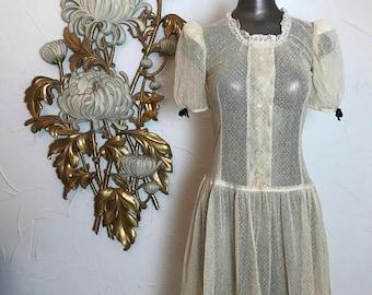 1940s dress net dress tea stained dress 1920s style dress size x small sheer dress puff sleeves dress 25 waist flapper dress swiss dot dress