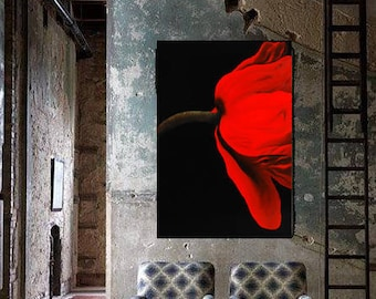 Original painting,red flower,oil,home decor,living,present for her,fine art,free shipping,wedding gift,