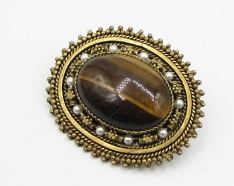Israel 925 sterling silver - tigers eye & pearl brooch pin pendant - bp1047