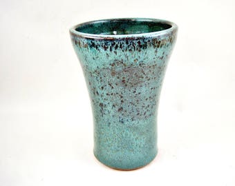 10% OFF Pottery tumbler Ceramic cup Teal blue 14 oz - In stock