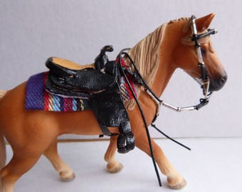 Western saddle set metal sleeves Schleich size black