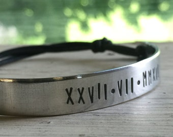 Custom Date Bracelet - Silver - Date Bracelet - Roman Numerals