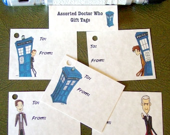 Doctor Who Gift Tags - 15 Assorted Tags for Any Occasion - Nine Ten Eleven Twelve TARDIS