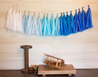 Blue Ombre Tassel Garland Tissue Paper Tassels Garland Kit Set of 6 to 50 Choose your quantity