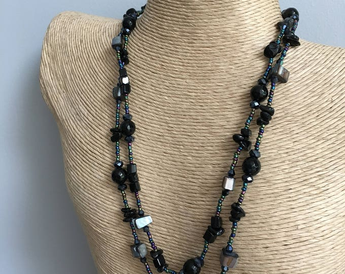 Downton sparkling river shell, black agate, seed beads and crystal bead necklace