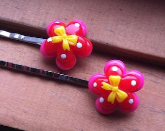 Kawaii Polka Dot Blossom Hairpin Set