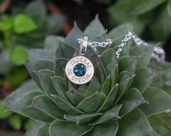 Bullet Necklace.....Nickel silver Federal .38 special pendant necklace with an Aqua  Swarovski crystal
