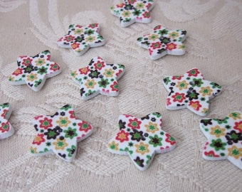 10 Retro Flower Star Wooden  Buttons