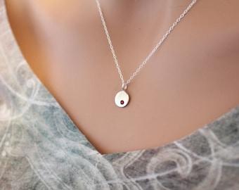 Sterling Silver July Birthstone Necklace, July Birthstone Necklace, July Birthstone Charm, Sterling Silver Birthstone Charm, Style #A7