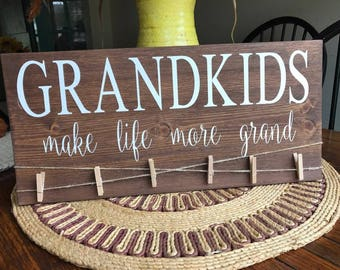 Grandkids Make Life More Grand Wood Sign / Family / Home Decor / Wall Hangings / Signs / Decor