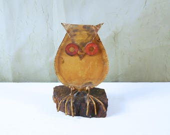 Torch Cut Metal Owl on Wood Base in the Style of Curtis Jere