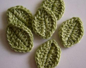 Crocheted Leaves - Wool Blend - Green Sheen - Leaf Appliques - Leaf Embellishments - Set of 6