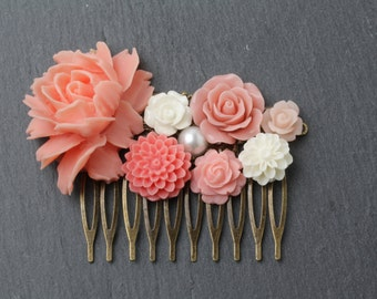 Coral Hair Comb, Coral flower hair comb, Coral headpiece, Coral Wedding hair accessories, Coral Bridesmaid gift, Maid of Honor Gift
