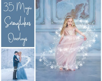 35 Magic Snowflakes Overlays - Christmas Overlays - Sparkle - Snow - Bokeh - Winter Background - Snow Background - PNG - Photoshop Overlays