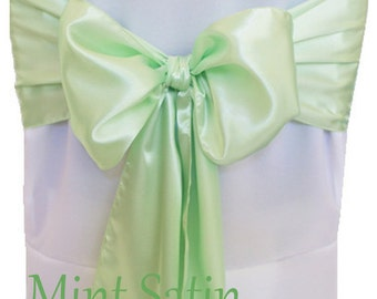 Attirant Chair Sashes Mint Green 100 Wedding Chair Sashes Chair Bows Satin Pew Bows  Party Bows Event