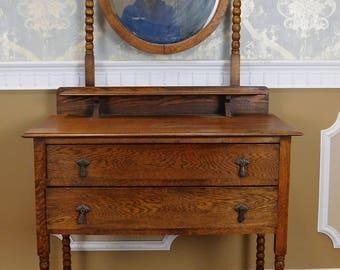 Antique English Style Quartered Oak Barley Twist Dressing Table Wash Stand w/ Mirror c1900