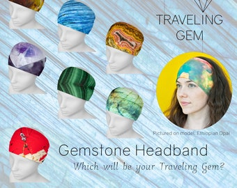 Gemstone Print Headband/Gem Design Headscarf/Printed Gemstone Hair Accessory/Gemstone Attire/Crystal Print Headband/Rockhound Gift/Stones