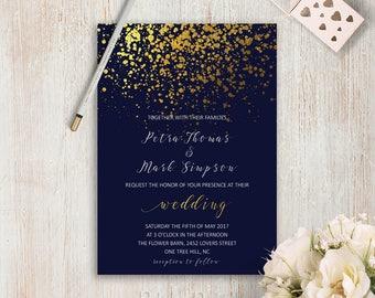 Navy and Gold Wedding Invitation Set Gold Glitter Wedding Invites Gold Confetti Wedding Invitations Printable Wedding Invites Digital File