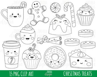 50% SALE CHRISTMAS digital stamp, christmas treats graphics, commercial use, digital stamp, food clipart, kawaii clipart, cute stamps