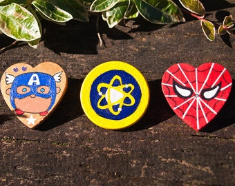Marvel Spider-Man Homecoming Avengers Peter Parker - Midtown School of Science & Technology - Custom Hand Painted Wooden Pin Badge Button
