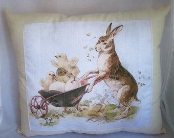 Easter bunny decor, vintage Easter decor, retro Easter decor, photo pillow, home decor, free shipping, Baptism, First communion
