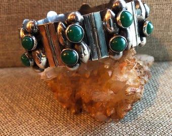 Vintage Modernist Sterling Silver and Chrysocolla Bracelet, Mexico