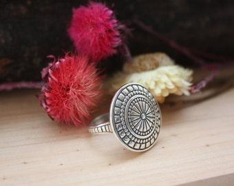 Boho sterling silver ring, Locket ring, Medallion ring, Round sterling silver ring, Button ring, Big button sterling silver ring, Handmade