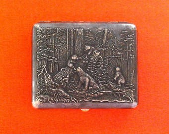 Vintage soviet metal cigarette case with motives of Shishkin's picture, metal holder, Bears in the woods, made in USSR, 1950s