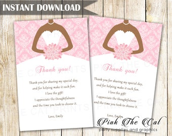 African American Bride Thank You Card Wedding Shower Thank You Note, Pink Damask Thank You Note Prinable Bridal Shower Card INSTANT DOWNLOAD
