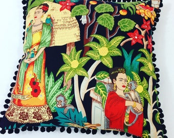 Frida Pillow with Pom Poms, Frida kahlo, frida, Mexican, artist, cushion, pom pom cushion,